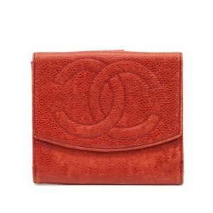 Auth Chanel Red Leather Small Wallet #2265C55